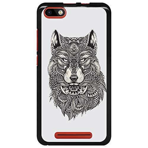 BJJ SHOP Schwarz Hülle für [ Wiko Lenny 3 / Jerry ], Klar Flexible Silikonhülle, Design: Ethnischer Wolf, Maori