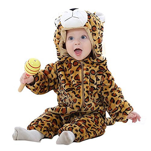 MICHLEY Bebé Ropa Mameluco Niños Niñas Pelele Pijama de Primavera y otoño Franela Traje de Animales leopardo-70cm