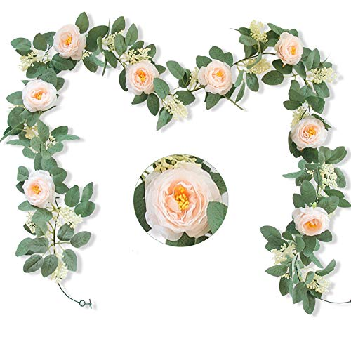 2pcs (13Ft) Artificial Rose Vine Fake Silk Flower Garland Hanging Rose lvy for Wedding Arch Decor (Champagne)