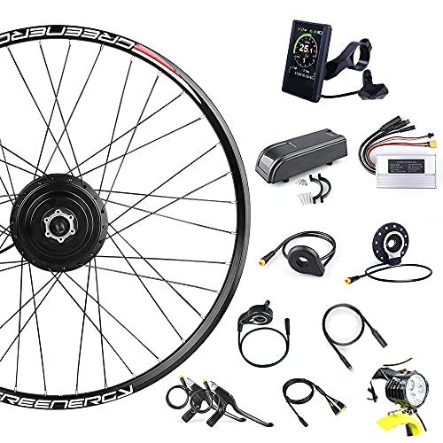 Bafang Kit de Conversión de Bicicleta Motor de Buje Trasero 48V 350W para Kit de Rueda Trasera 26' 700C con Pantalla LCD, Batería de Tubo Inferior 10/13/17,5Ah Opcional, Batería de Rack 17,5Ah