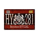 Vintage Aluminum Metal Signs Hy281 Barcelona License Plate Retro Look Metal Sign For Garage Man Cave Home Decor 8' X 12'