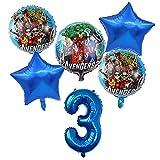 WZZA 6 unids Spiderman Foil Balloons Avengers 32 Pulgadas Número Globo Fiesta de cumpleaños Decoraciones Super Hero Boy Niños Juguetes Bebé Ducha Bola Globos de Fiesta (Color : Blue Number-3)