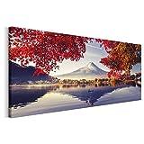 Revolio - Cuadro en Lienzo - Imágen Panorámica - Impresión artística - Decoracion de Pared - Tamaño: 150 x 60 cm - Japón Monte Fuji Rojo