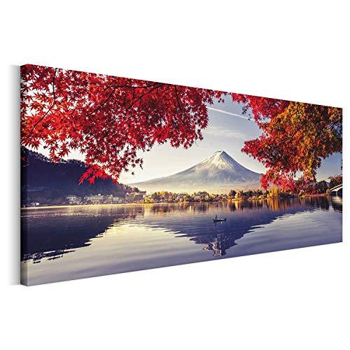 Revolio - Cuadro en Lienzo - Imágen Panorámica - Impresión artística - Decoracion de Pared - Tamaño: 150 x 50 cm - Japón Monte Fuji Rojo