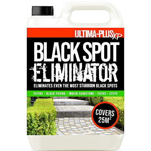 Ultima-Plus XP Black Spot Remover Eliminator for Patio, Stone, Block Paving, Indian Sandstone, and More - Easy to Use Fluid for Stubborn Dirt & Grime (5 Litres)
