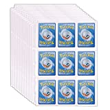 9 Pocket Trading Card Binder Sleeves Sheets, 3-Ring Binder Page Protectors for Pokemon Baseball Sport Cards, 30 Page