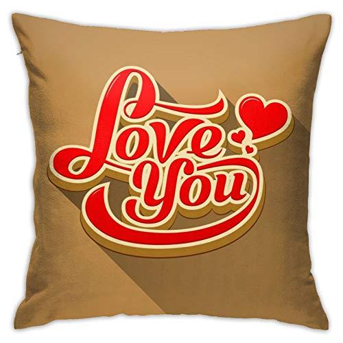 Love You - Funda de almohada para el día de San Valentín con mensaje moderno, 45,7 cm y 76,2 cm en dos lados con funda de almohada impresa para decoración