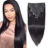 Apeasex Clip in Human Hair Extensions Grade 8A Straight Remy Human Hair Clip ins Extesnions for Women #1B Natural Black Color Thick Hair 10Pcs/set 120g (14inch, Straight)