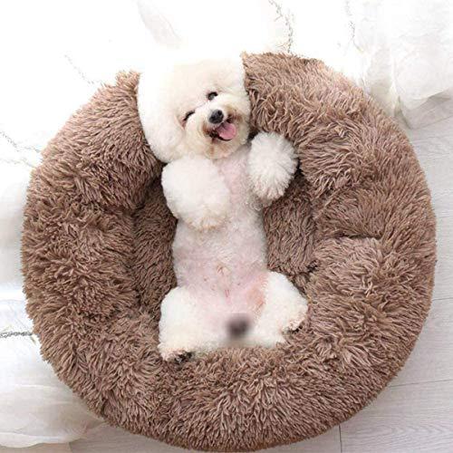 Beruhigendes Hundebett, groß, waschbar, Plüsch, Katzenbett, Donut-Kuschel, weiches Komfort-Hundebett, Kissen für mittelgroße, große und extragroße Hunde (Kaffee, 70 cm)