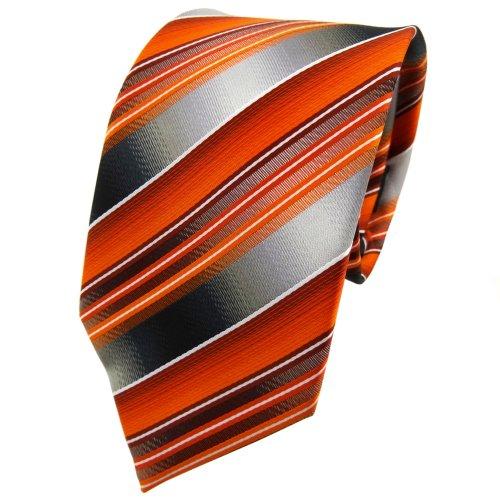 TigerTie - Corbata - naranja antracita plata gris rayas