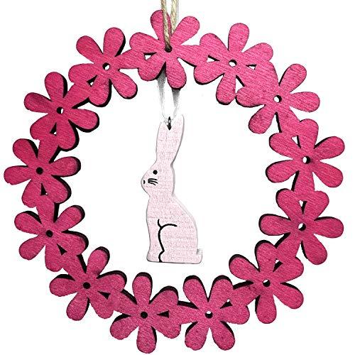 endlos schenken Petite couronne de Pâques en bois - Avec lapin rose à suspendre - Décoration de Pâques