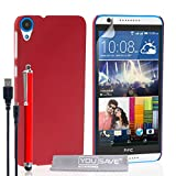 Yousave Accessories HTC Desire 820 Case Hard Hybrid Cover with Stylus Pen and Micro USB Cable - Red