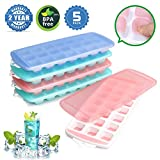 Ice Cube Trays,Ice Tray Food Grade Flexible Silicone Ice Cube Tray Molds with Lids, Easy Release Ice Trays Make 105 Ice Cube, Stackable Dishwasher Safe, Non-toxic,BPA Free (2018 Newest/5 Packs)