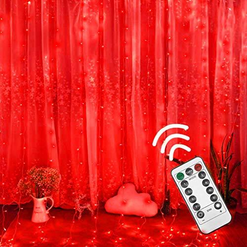 FBGood - Tenda luminosa per esterni/interni, ghirlanda di luci a LED per illuminazione, bassa tensione, decorazione per finestre, per Natale, matrimonio, compleanno, casa, patio rosso
