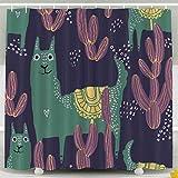 Rideau de douche, rideau de douche pour enfants, beau motif de carreaux Cactus de lama dans le style scandinave Simple Sweet Kids Nursery Graphic Apparel Print Set de salle de bain décor étanche avec
