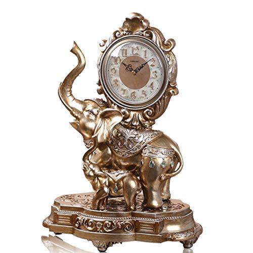 JCOCO Européenne éléphant bureau horloge salon chambre chevet créative table horloge muet non-tick muet balayage mouvement quartz horloge table horloge (Couleur : Bronze)