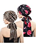 Blulu 2 Pieces Soft Satin Head Scarf Sleeping Cap Bonnet Headwear Head Cover Turbans for Women (Set 7)