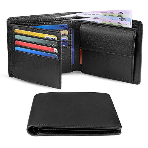 Geldbörsen Herren Echtes Leder RFID Blocking Slim Trifold Geldbörsen mit Münztasche, 10 Kreditkarten, ID-Fenster Minimalistische Geldbörse mit Geschenkbox