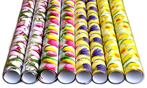 artwelten Home & Style 8 Rollen Blumen Geschenk Verpackung für den Frühling, Ostern, Hochzeiten und Geburtstage - Hochwertiges und edles Geschenkpapier Set mit Blumenmuster