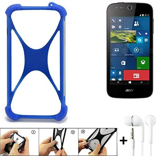K-S-Trade® Bumper Für ACER Liquid M330 Schutzhülle Handyhülle Silikon Schutz Hülle Cover Case Silikoncase Silikonbumper TPU Softcase Smartphone, Blau (1x), Headphones