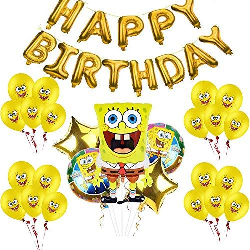 Geenber Spongebob Party Luftballons Zubehör, Spongebob Schwammkopf Charakter Folien Luftballons Geburtstag Banner und Latex Luftballons für Kinder Babyparty Geburtstag Party Dekorationen (26er Pack)