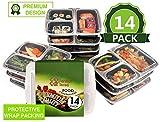 10er Pack- 3-Fach Meal Prep Boxen mit Deckel   BPA-frei   Wiederverwendbar, Stapelbar   Geeignet für Mikrowelle, Gefrierschrank & Geschirrspüler   GRATIS 10 Saucen / Dressing Dosen + 10 Etiketten
