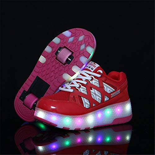 Mesh Two-Wheeled Runaway, Outdoor Night Vibrating Luminous Roller Shoes, Cushioning Non-Slip, Comfortable Mesh Roller Shoes, The Best Gift for Party and Dancing Festivals,Red,31