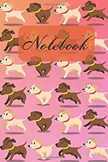 Notebook: Cute Brown Chocolate & Yellow Cream Labrador Retriever Puppies Running - Dogs Diary Journal , Book Gifts For Dad Mom Friends Kids Teens 6x9