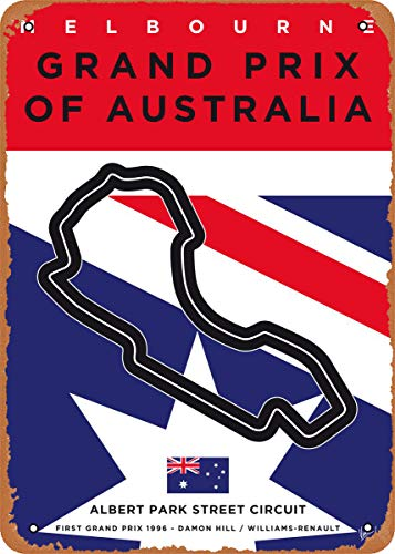 Wanfst Vintage Look Metal Sign - My F1 Racetrack Posters My F1 Melbourne Race Track - 8 x 12 Tin Sign
