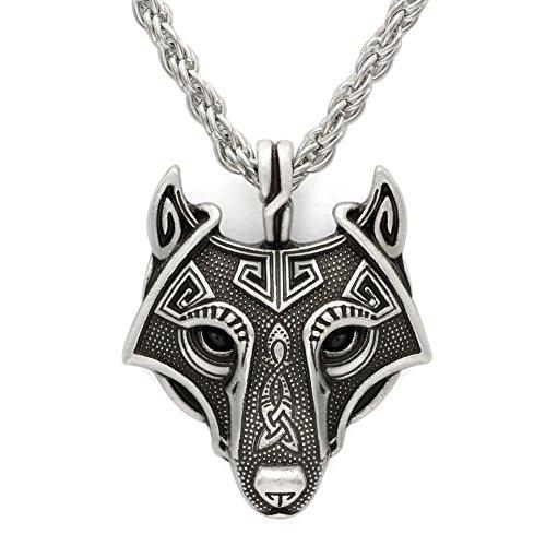 HLARK Viking Collar Con Colgante Cabeza Lobo Para Hombre Amuleto Pagano Vikingo Nórdico ollar joyería Para Hombre