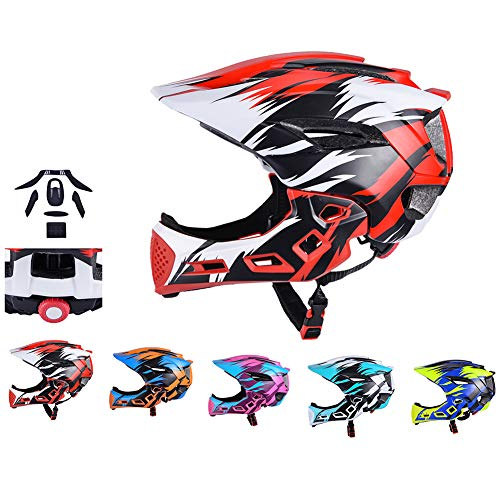 WEZER OTY Fahrrad Kinderhelm Integralhelm Fahrrad Downhill Helm M 54-58cm mit Abnehmbarem Kinnschutz Integriert EPS/PC Stoßfest,A. red