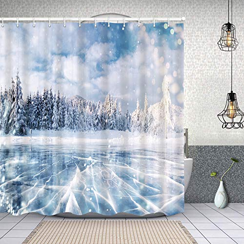Cortina de Ducha Impermeable Grietas en la Superficie Azul Hielo congelado Cortinas baño con Ganchos Lavable a Máquina 72x72 Inch