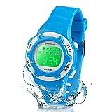 Reloj Niño Niña Digital,7 Colores Impermeables Relojes de Pulsera Infantil,Relojes Deportivos de Pulsera Multifuncionales para Exteriores con Cronómetro/Alarma para Niños 5-15 años (Púrpura)