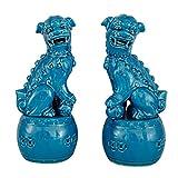 Estatuas de león de Feng Shui, un par de Leones Guardianes de cerámica, Perros Fu Foo para protegerse de la energía maligna, para Escritorio de Oficina, Mejor inauguración de la casa