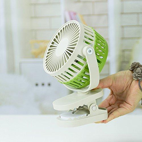 Mini ventilatore ritmo di bambù clip di ricarica USB ventilatore elettrico buggy regolabile ventola clip, verde