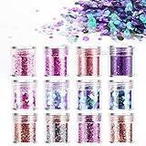 DazSpirit 12PCS Purpurinas Polvo, Chunky Glitter para Uñas Purpurina Cara Glitter para Uñas para...