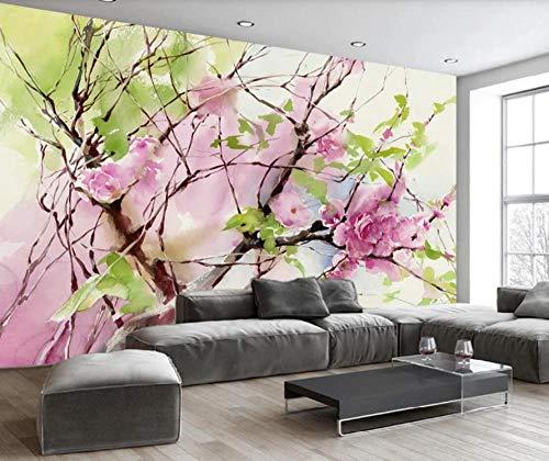 Papel Pintado Pared 3D Flor De Flor De Durazno Rama Abstracta Moderno Dormitorio Salon Decoracion murales