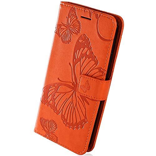Herbests Kompatibel mit Samsung Galaxy J4 Core Lederhülle Handyhülle Schutzhülle Ledertasche Wallet Hülle Schmetterling Klapphülle Stoßfest Handytasche Flip Tasche Stand Kartenfächer,Orange