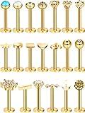 20 Piezas Perno de Nariz de Acero Inoxidable 16G Joyería de Piercing de Cartílago Labios Nariz para Mujeres Chicas (Dorado)