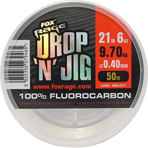 FOX Rage Fluocarbon Schnur Drop \'n\' Jig 50m, Angelschnur für Vorfächer, Vorfachschnur zum Spinnfischen, Durchmesser/Tragkraft:0.40mm / 9.70kg Tragkraft