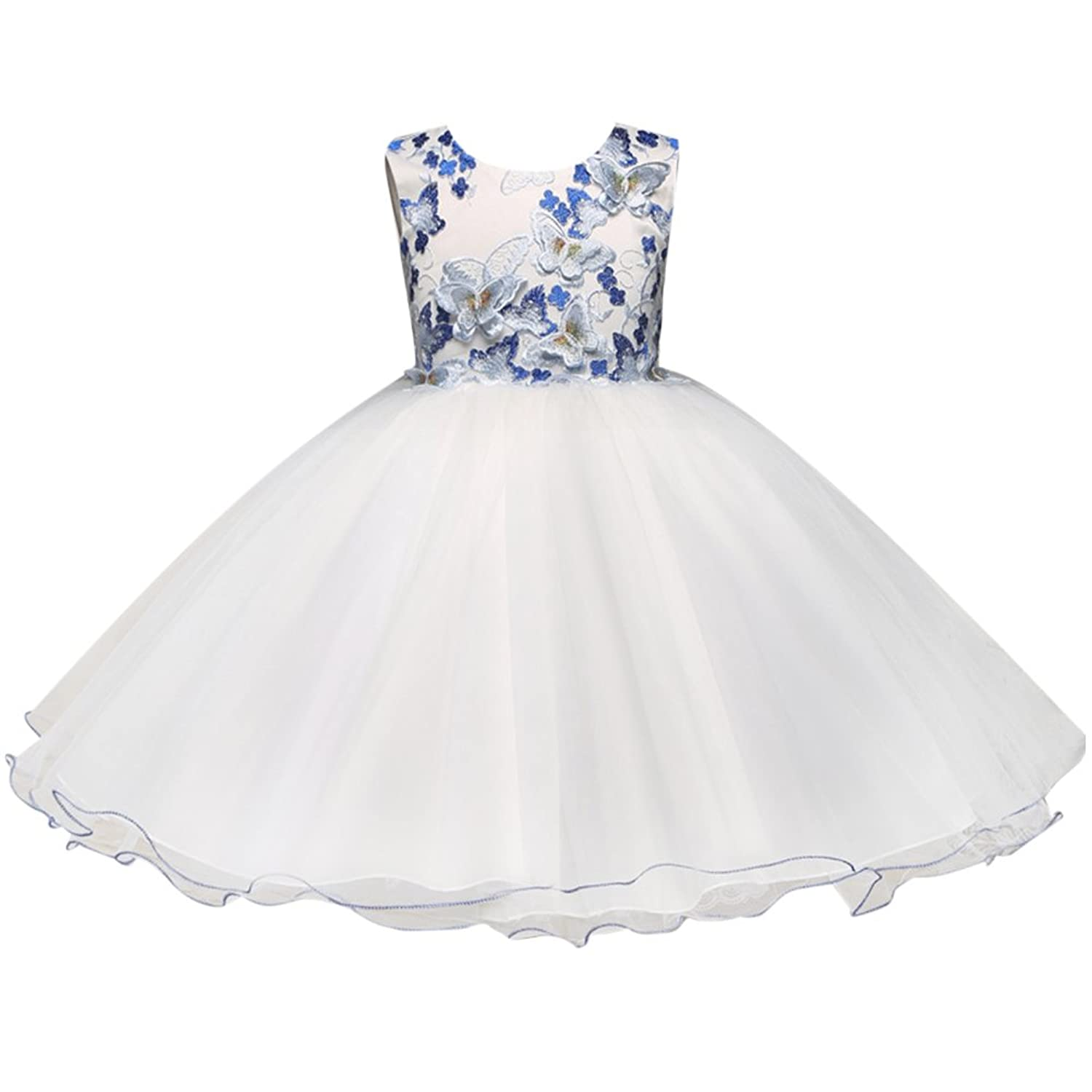 Zhuhaitf 高品質 Big Girls Dress Embroidery Butterfly Flower Princess Formal Party Wedding Bridesmaid Tulle ドレス for 3-8 year old