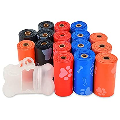 Best Pet Supplies Dog Poop Bags for Waste Refuse Cleanup, Doggy Roll Replacements for Outdoor Puppy Walking and Travel, Leak Proof and Tear Resistant, Thick Plastic - Mixed Colors, 240 Bags 1