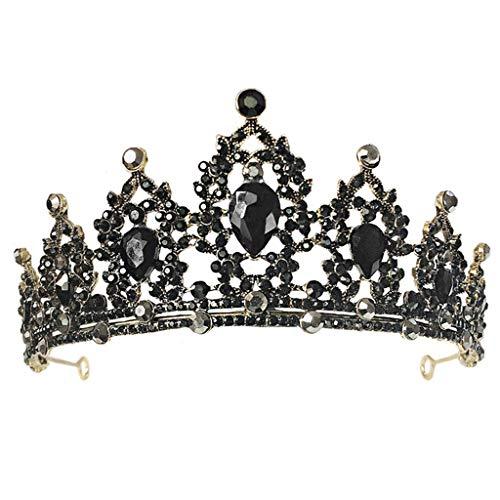 niumanery Wedding Crown Crystal Tiaras for Bridal Headpiece Wedding Hair Accessories Ancient Gold Black