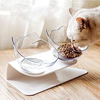 Fablcrew Double Bol de Nourriture pour Animal Domestique avec Support Surélevé Gamelle Aliment pour Chat et Petits Chiens