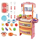UNIH Little Kitchen Playset for Kids,Pink Kids Kitchen Pretend Play Toys with Realistic Lights &...