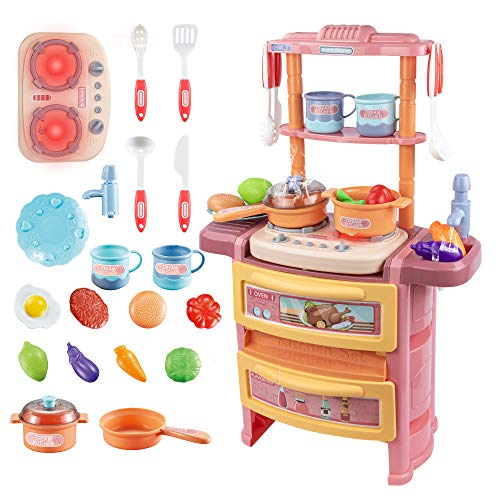 UNIH Little Kitchen Playset for Kids,Pink Kids Kitchen Pretend Play Toys with Realistic Lights & Sounds,Pretend Steam,Play Sink & Oven for Girls(Size 14 x 7 x 21 inch