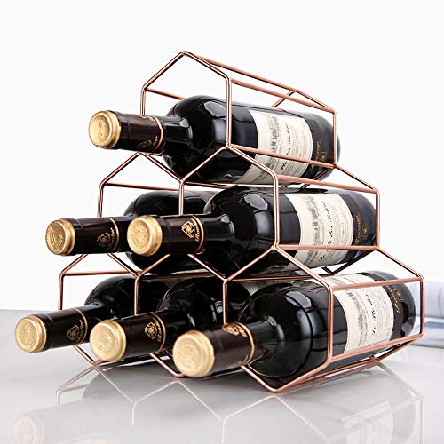 ZYHA Botellero,Bodega para Vino,En General más Grueso,Botellero para 6 Botellas de Vino,Estilo Europeo,de Hierro Dorado,para Vino o Vino,Organizador Independiente para Vino Tinto/Blanco