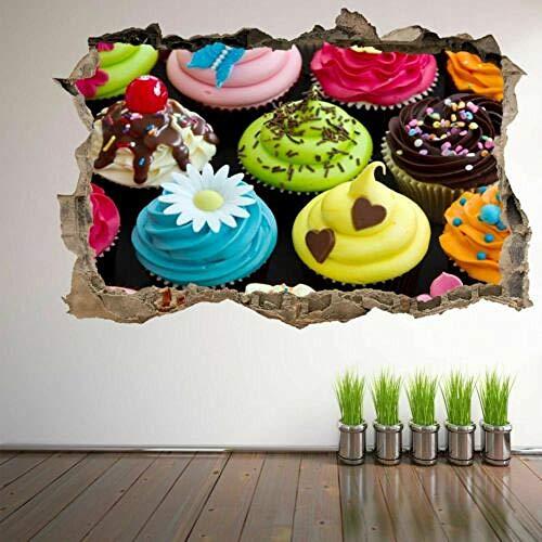 Pegatinas de pared Cupcakes Arte de la pared Pegatinas Mural Calcomanía Cafe shop Hogar Cocina Decoración 6 mural - 50×70cm