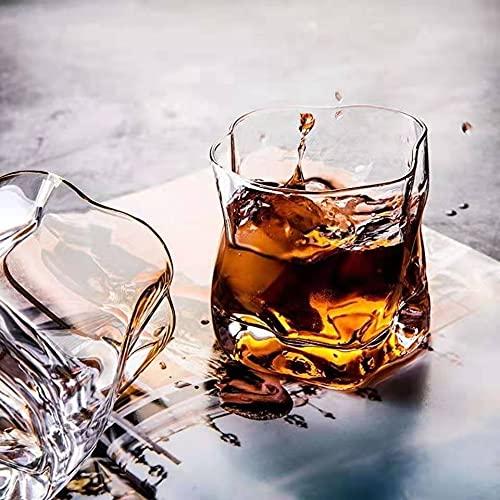 Bicchiere in vetro per whisky, cocktail, scotch, set di 4 barattoli, idea perfetta per gli amanti dello scotch, bicchieri di stile borbon/rum/whisky da bar, trasparente, color oro