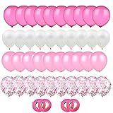 Gxhong Globos de confeti Globos de Látex Rosado Blanco, 60pcs globos de helio de 12 Globos de confeti de látex con 4 cintas de globos para bodas Decoraciones de fiesta de cumpleaños (Rosado)